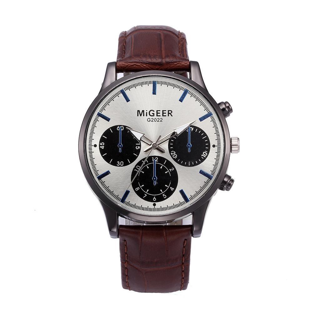 6719ea2983be Compre Reloj Para Hombre China 3 Ojos Relojes Para Hombre Diseño De Moda  Hombre De Negocios Aleación Analógica De Cuero Reloj De Cuarzo Mientras Y  Dial ...