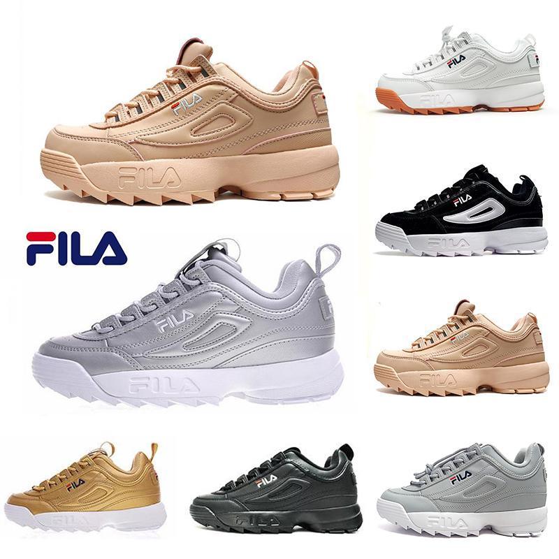 79a76d55d11b6 Acheter Silver Blanc Original Fila Brand Chaussures Décontractées Gold Sand  Noir II 2 S Femmes Hommes FILE Baskets De Sport Augmentées Expédition  Directe De ...