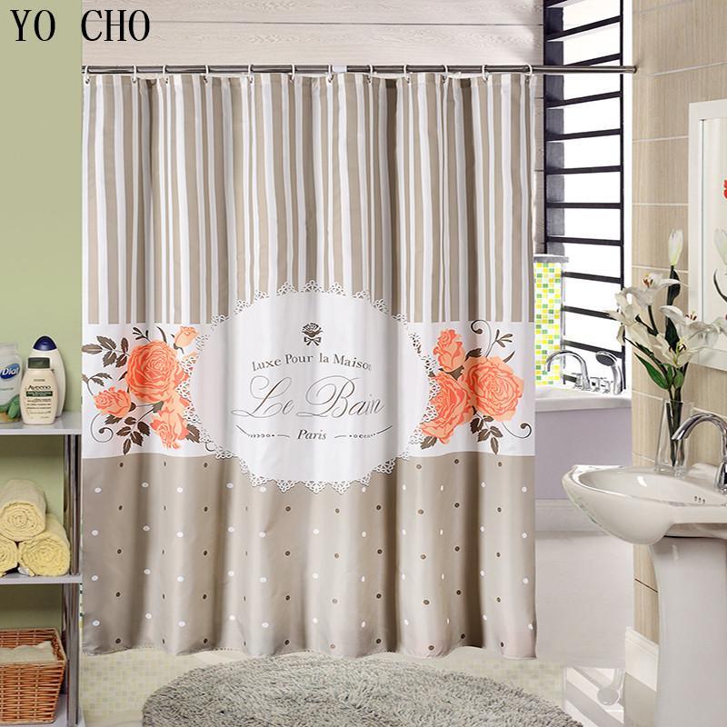2019 Gray Waterproof Fabric Shower Curtain Environmental Polyester Bath Stripe Paris Flower Vintage Bathroom From Crape 3373