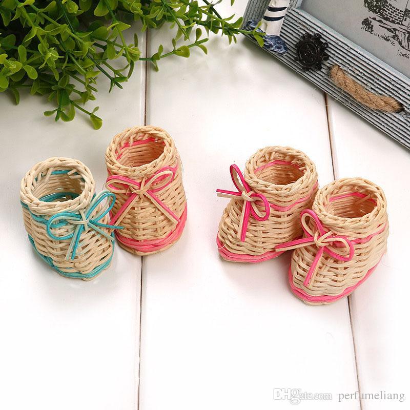 Creative Cute Mini Shoes Weave Storage Baskets Desktop Decoration