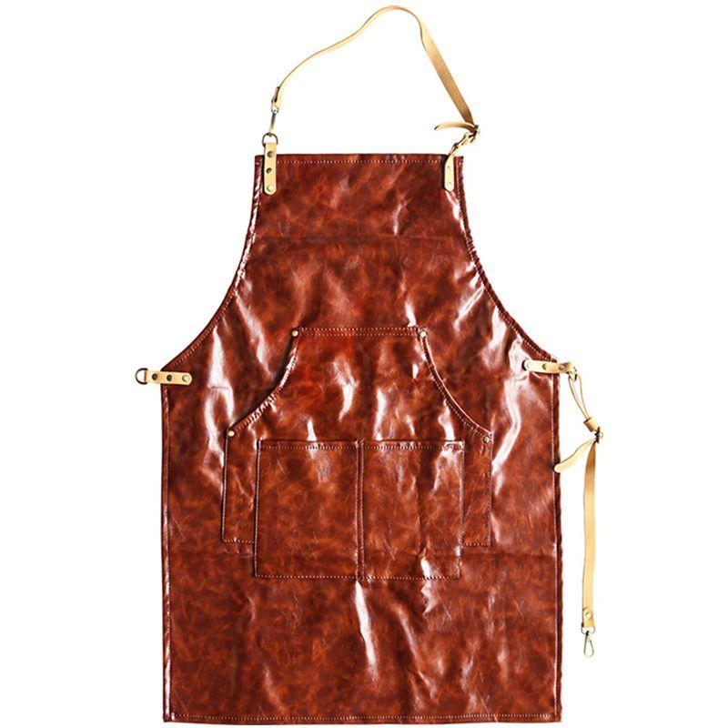 Großhandel Rot Grau Pu Schürze Baumwolle Lederband Barista Bartender