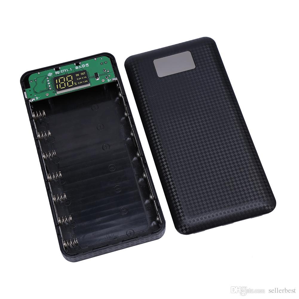 No Battery 7x18650 DIY Portable Battery Power Bank Shell Case Box Digital LCD Display Dual USB Powerbank Protector Case Cover