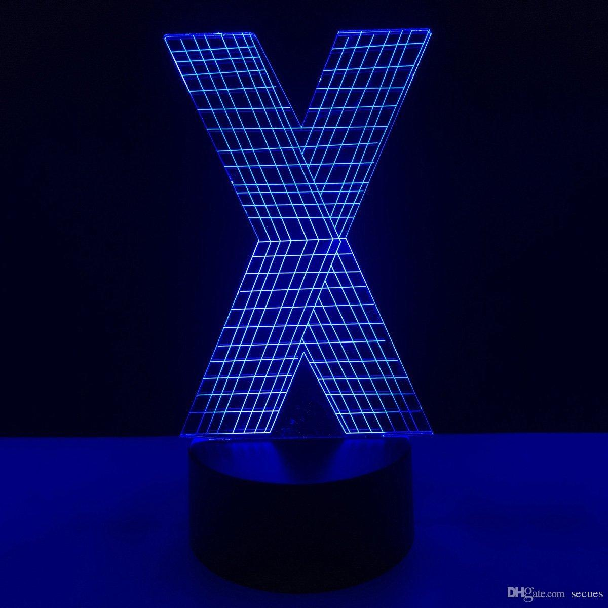 New X Letter Shape 3D Illusion LED Lamp Letters Decoration Lamp DC 5V USB Powered 5th Battery Wholesale