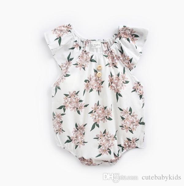 18807b498 Baby Ruffle Sleeves Flower Rompers Summer 2018 Baby Clothes for ...