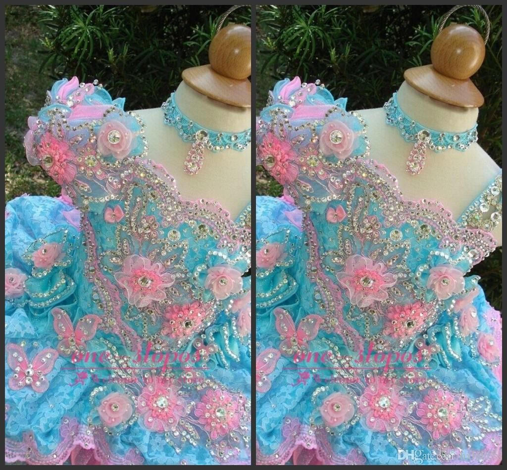 2018 New Colorful Cute Toddler Cupcake Pageant Dress Sparkly Sequin Crystal Kids Pageant Gowns Hand Made Flowers Little Girl Pageant Dresses