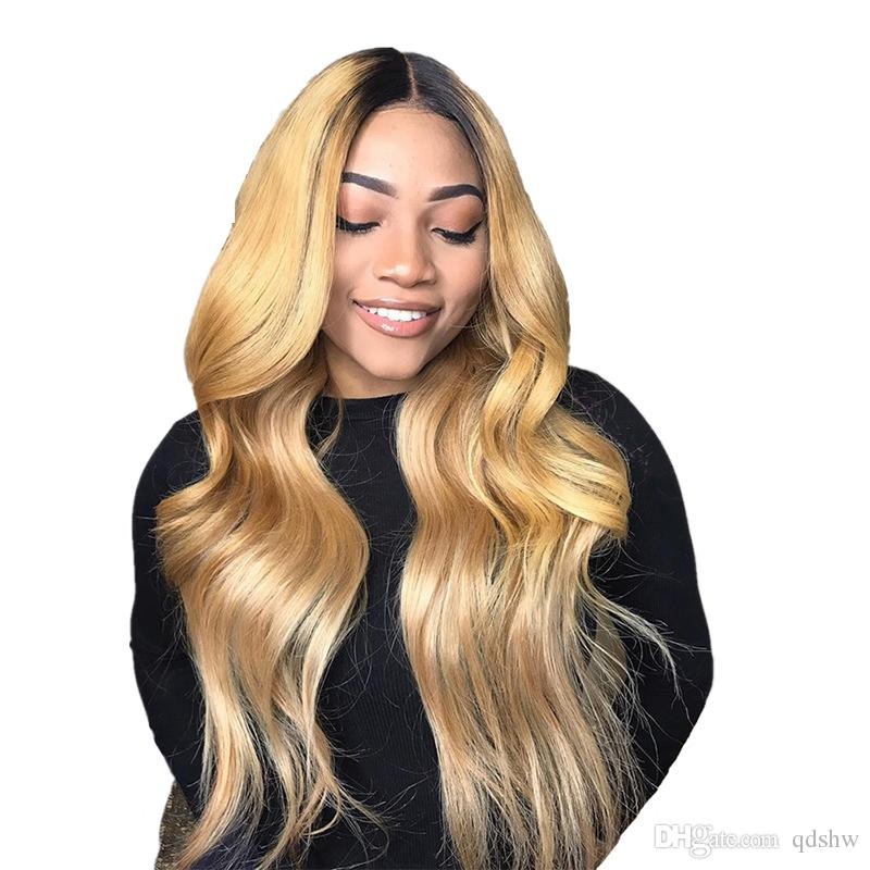 2b9fbc29ccc 1B 27 Blonde Full Lace Wigs Human Hair Glueless Virgin Body Wave Blonde  Ombre Lace Wigs For White Women Bleached Knots