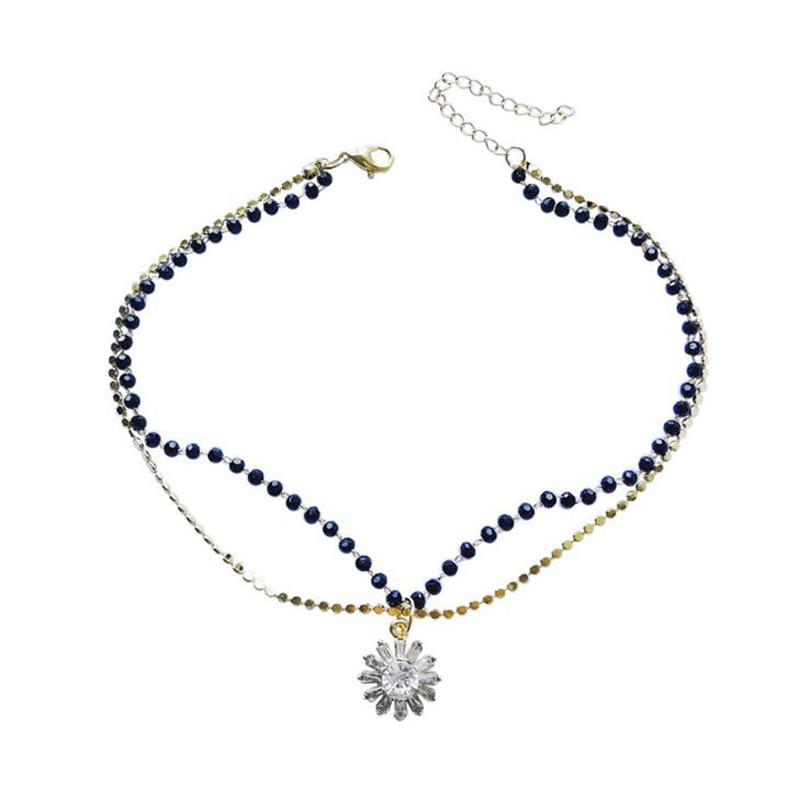 416835eeef1057 2018 Hot Sale Korean Style Fashion Simple Double Black Crystal Beads  Chokers Necklaces Sunflower Pendant Women's Jewelry Gifts