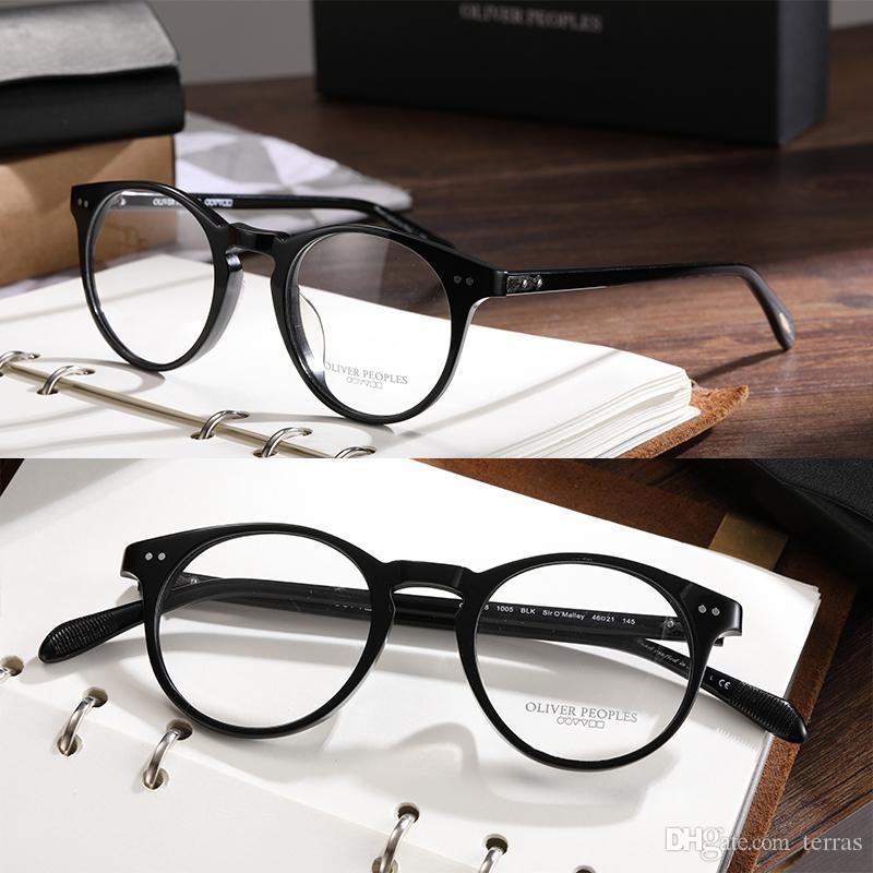 edf9e22855808 Oliver Peoples Round style optical glasses OV5256 Myopia reading Glasses  Frame Men Women sir o malley Retro Eyeglasses frame