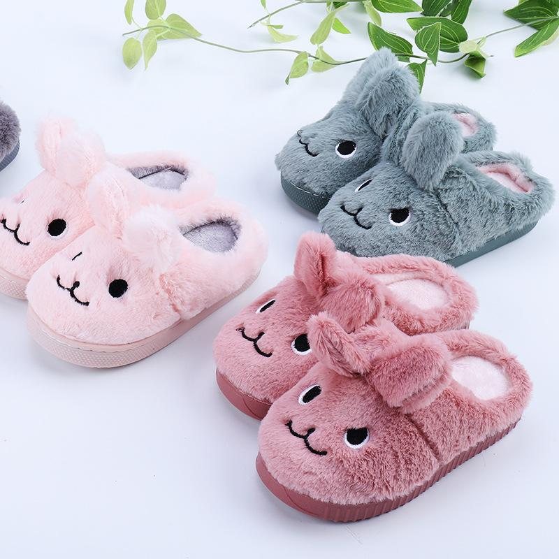 f14fb655c0b8 Children S Cotton Slippers Cute Winter Warm Non Slip 2018 New Baby Boys  Girls Home Indoor Soft Fur Cotton Shoes Toddler Slippers Size 6 Cheap Girls  Slippers ...