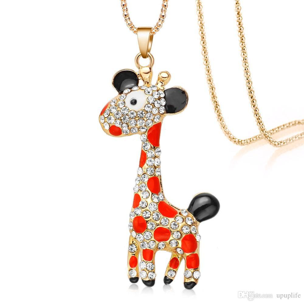 wholesale giraffe product necklace chains gold pendant for plated cross gifts collars christmas necklaces women pendants religious jewelry rhinestone