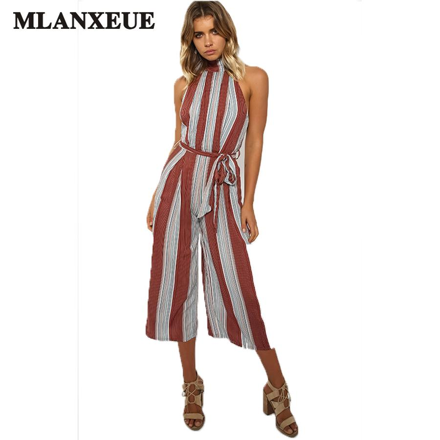6a6bad30a3e 2019 Sexy Halter Jumpsuit Women Fashion Sleeveless Office Ladies Overalls  Striped Print High Waist Split Wide Leg Summer Jumpsuits From Beke