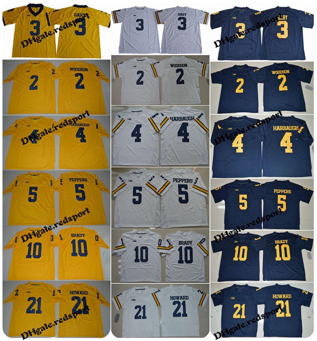 Michigan Wolverines 10 Tom Brady 21 Desmond Howard 4 Jim Harbaugh 2 Charles  Woodson 5 Jabrill Peppers 3 Rashan Gary College Football Jerseys Tom Brady  ... a7c17f2cc