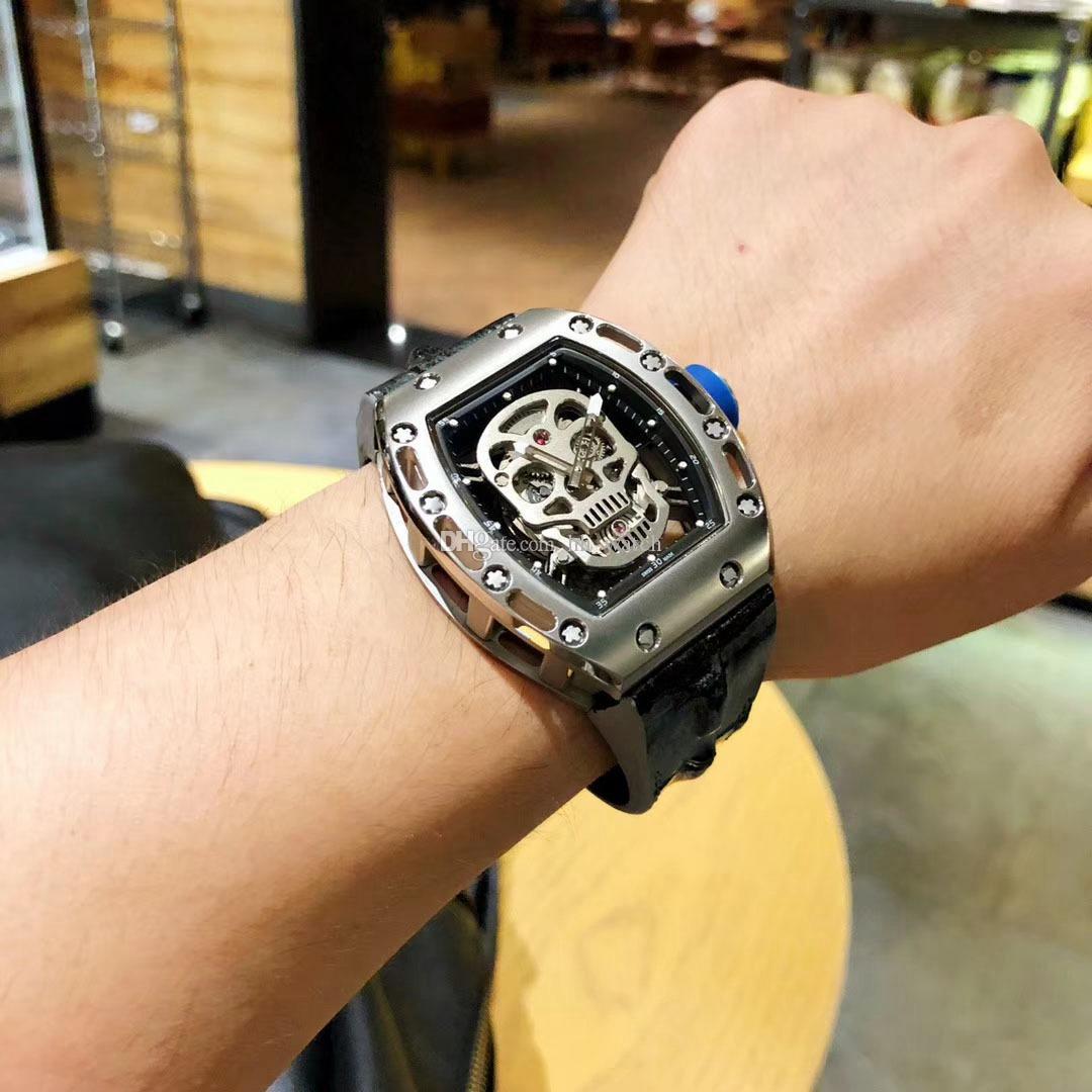 1702983a693 Compre Top De Luxo Da Marca Dos Homens Relógio De Prata Pulseira De Couro  De Jacaré Cinza De Aço Inoxidável Movimento Automático 43 MM Mineral Vidro  ...