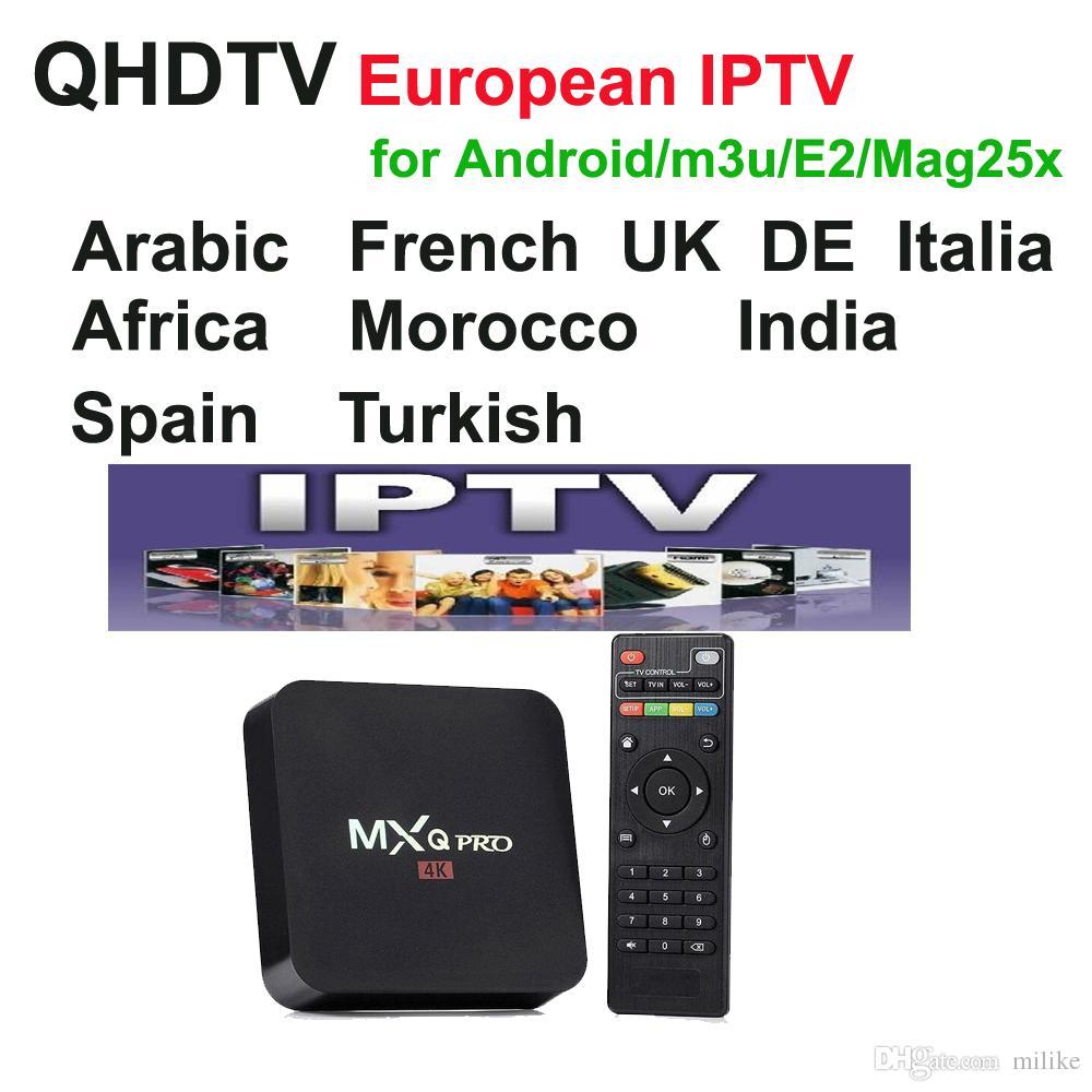 QHDTV live Sports UK Alemania 1300 Europa IPTV Canales árabes Transmisión  de IPTV Cuenta Apk Trabaja en la plataforma Android m3u, MXQ pro tv box