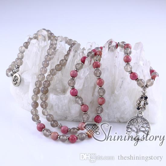 108 mala bead necklace tree of life pendant ohm jewelry prayer beads for sale 108 prayer beads healing crystal jewelry healing crystal jewel