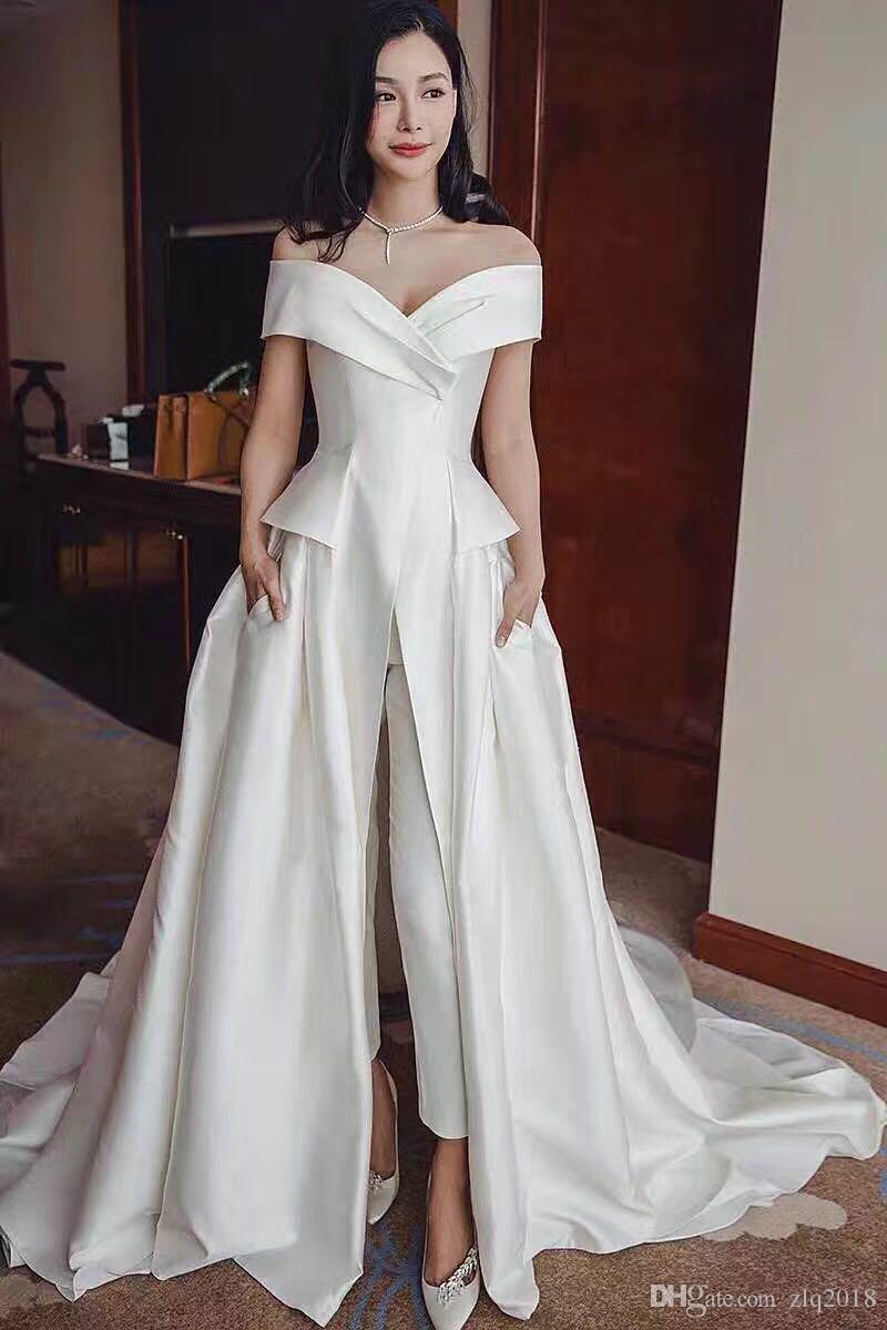 b46d8211bce Women Jumpsuit With Long Train White Evening Dresses Off Shoulder Sweep  Train Elegant Prom Dress Party Zuhair Murad Dress Vestidos Festa Elegant  Evening ...