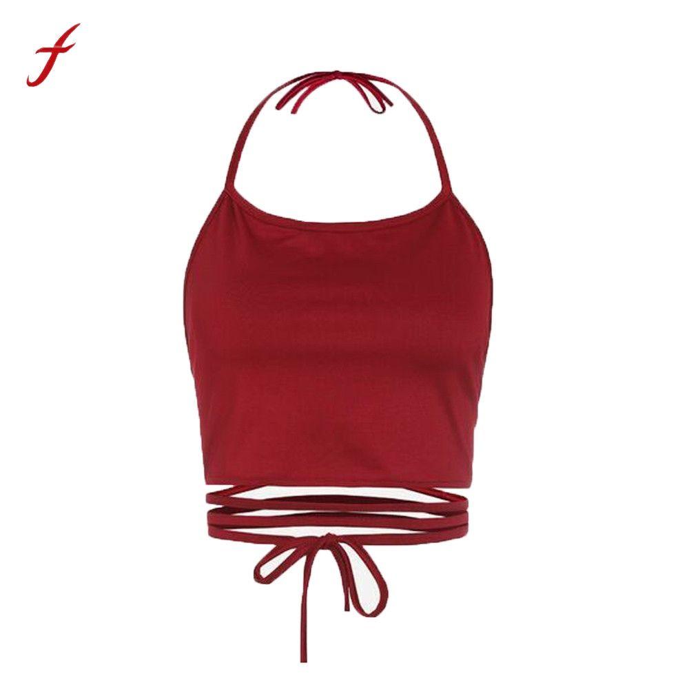 7cc8e454094 2019 Sleeveless Backless Vest Halter Tank Tops Women Blouse T Shirt Black  Green Red Khaki Crop Top Feminino Women Cropped Tank 2018 From Vanilla04,  ...