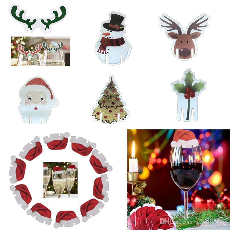 wine glass markers charms label christmas decoration home table place cards santa claus hat elk tree xmas wedding new year party supplies buy xmas