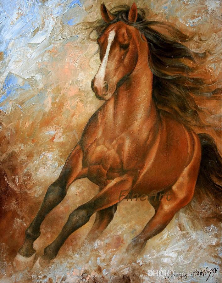 100% handmade oil wall art high quality horse running canvas painting animal wall decor art oil paintings large paintings for sale