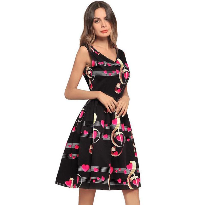 info for 655f6 850a2 DIDI vestiti estivi femminili per le donne note di musica eleganti amore  decorazione abito moda stampa manica corta vestito DN153