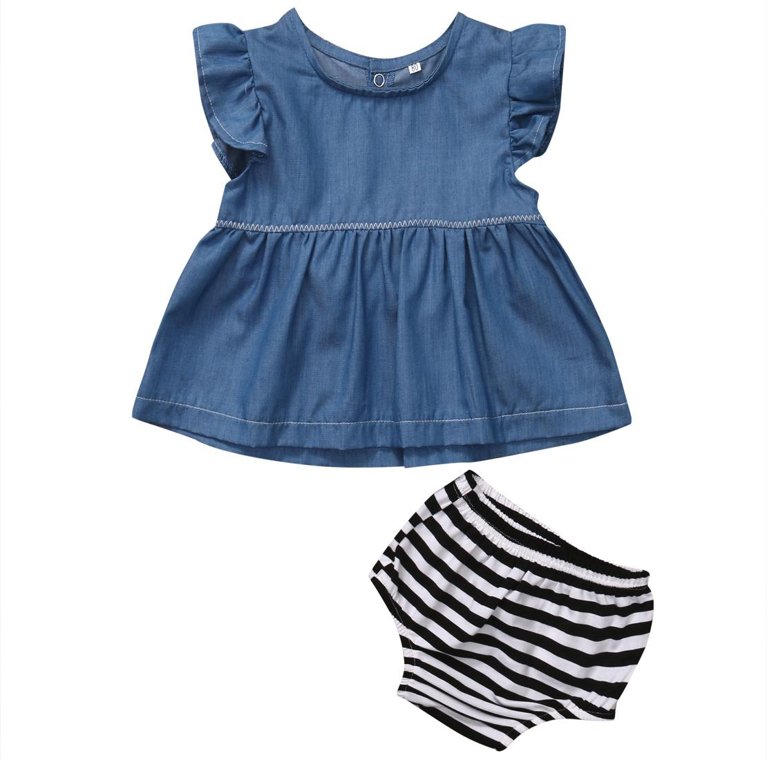 d9b0ae428c23 Baby Girls clothing Cowboy Color Tunic Dress + striped shorts bottom Kids  outfits summer baby girl sets 0-24M