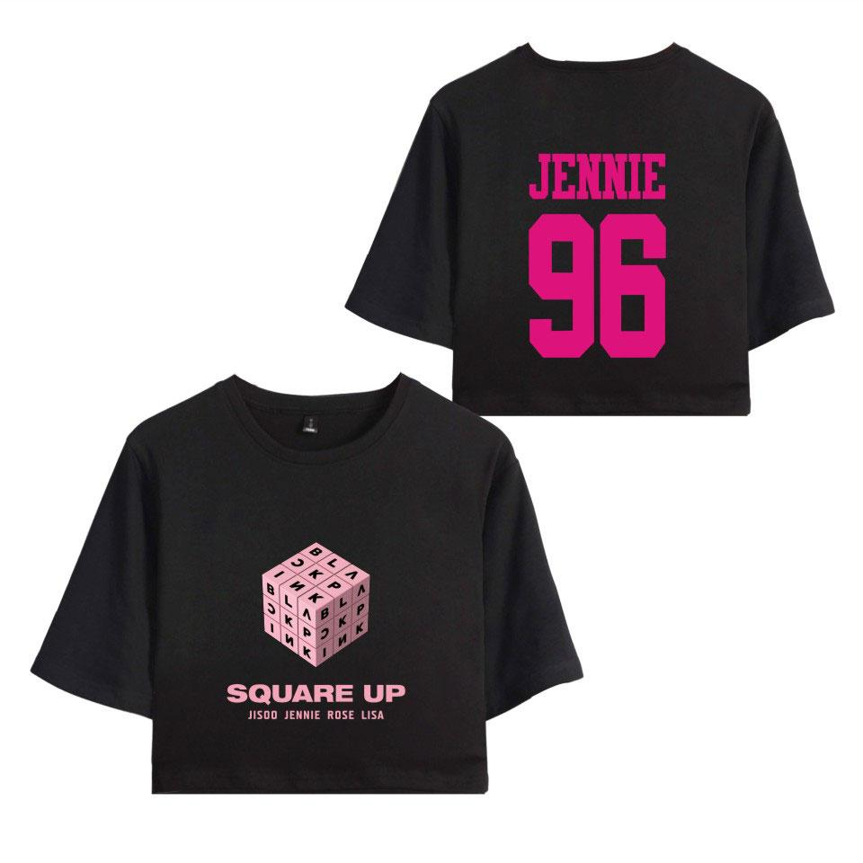 a713b73d BLACKPINK Square Up Women Exposed Navel T Shirts Girls Short Sleeves O-Neck  Hip Hop Summer Sexy 2018 New T-Shirt Floral Tops