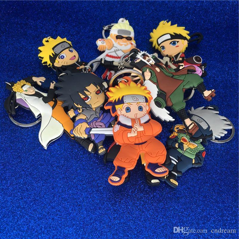 Nueva figura de Naruto Llavero de plástico PVC Mini Figuras Naruto Uzumaki Llavero Llaveros Sostener colgantes Mujeres Hombres Joyería de moda Envío de la gota