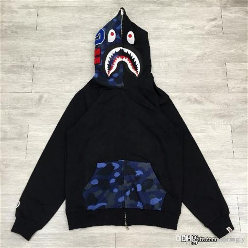 2019 2017 Top Quality Hot A Bathing A Ape Bap FULL ZIP HOODIE Sweater Coat  Shark Space Camo Half Face Full Zip Hoodie Men From Beautifuly c74ea835e