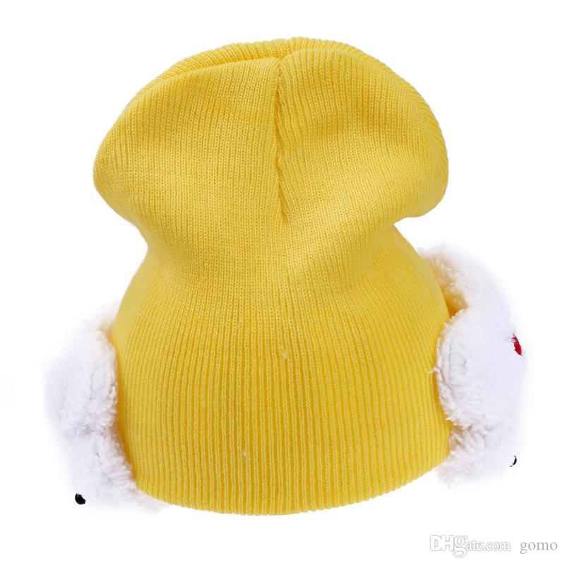 ca0a39120b58b Compre Invierno Cálido Sombrero De Bebé De Punto Gorra De Dibujos Animados  Encantador Conejo Protección Oreja Niños Cálido Sombrero Para Boy Girl  Infant ...