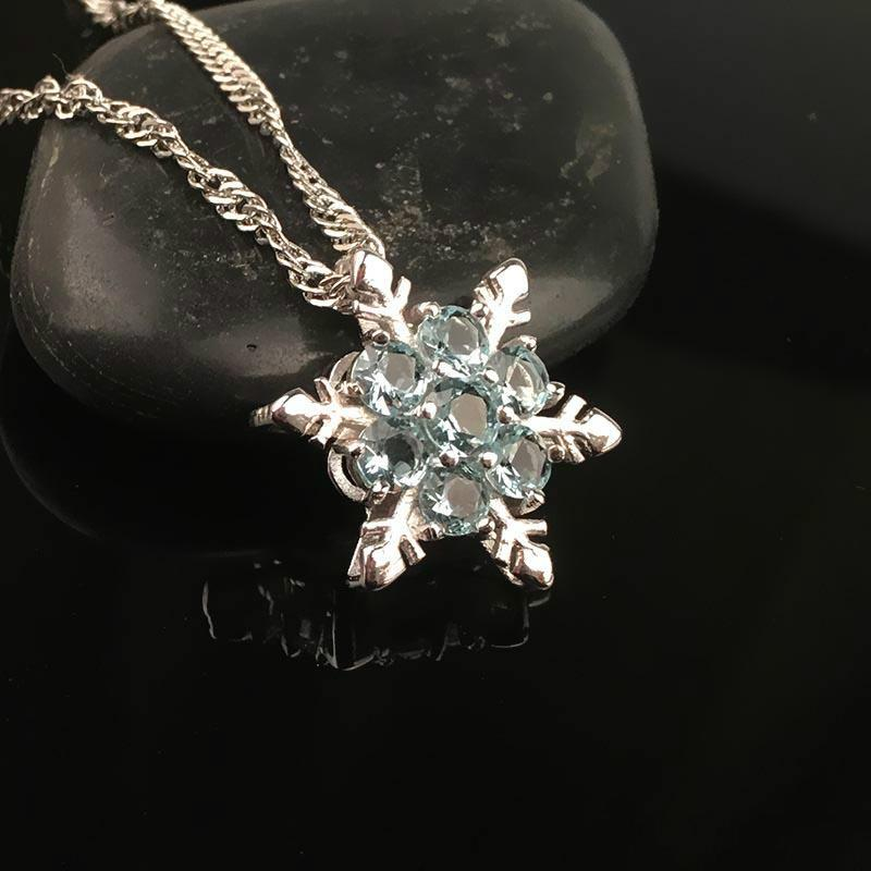 20pcs Fashion Jewelry Blue Crystal Snowflake Frozen Flower 925 Silver Necklace Pendants With Chain Y2282