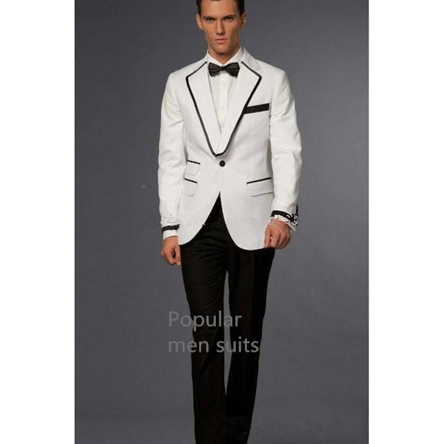 Compre Venta Caliente Moda Para Hombre Elegantes Trajes De Boda De Alta  Calidad Slim Fit Negocios Vestido Formal Traje Blanco Para Hombres Chaqueta  + ... f19f54ac01c