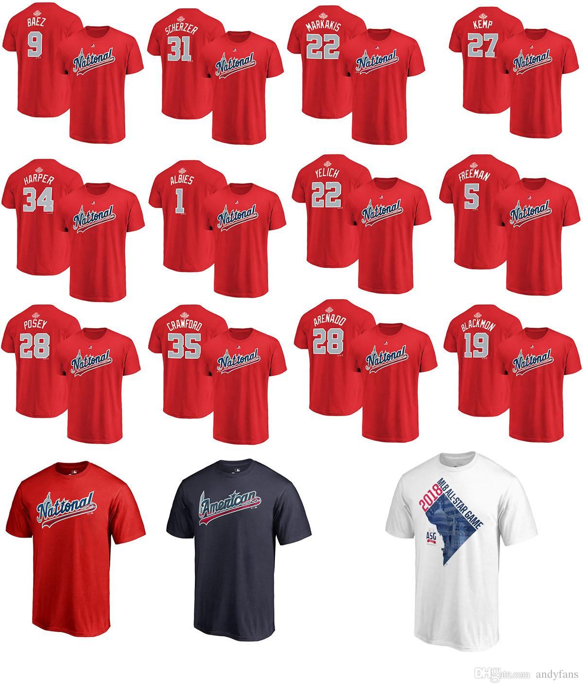 17f3eeef128 2018 Baseball All Star Game T Shirt National League Baez Arenado Yelich  Albies Scherzer Crawford Posey Kemp Freeman Harper Name   Number Tee White  Shirt Tee ...