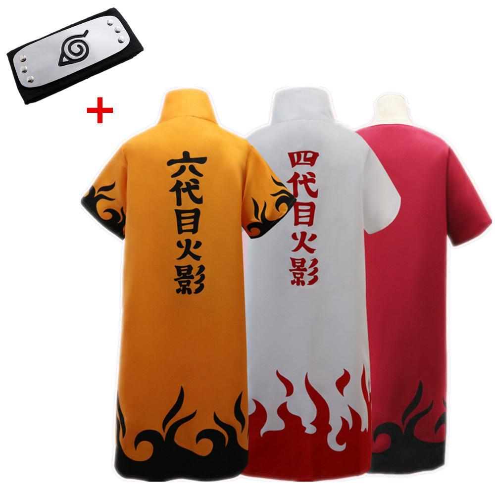 Asian Size Halloween Japan Anime Uzumaki Naruto 6th Hokage Overcoat Cosplay Costume Coat Unisex Long Loose Cloak Headband Costumes For 5