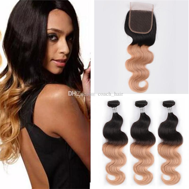 2018 Indian Honey Blonde Ombre Hair Weaves With Lace Closure 1b 27