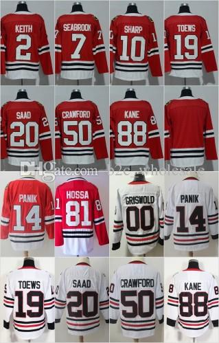Online Cheap 2018 Season Chicago Blackhawks 2 Keith 7 Brent Seabrook 19  Jonathan Toews 20 Brandon Saad 50 Corey Crawford 88 Patrick Kane Red White  Jersey By ... 2a7cddb22