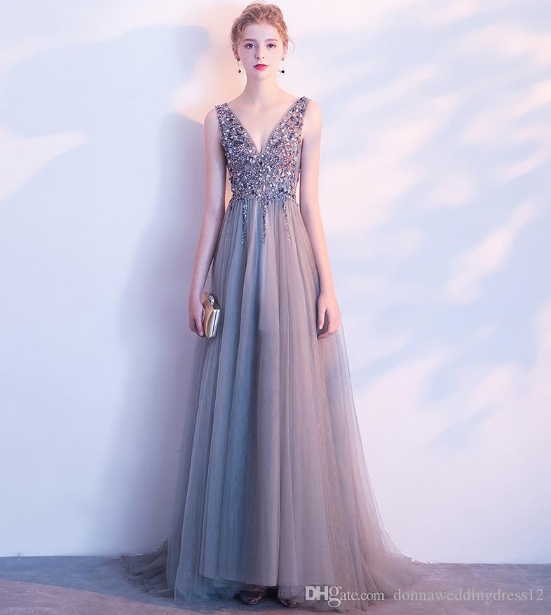 2018 V Neck Sparkly Beading Prom Dresses Gray Backless Evening Party Dress  Elegant Sexy See Through High Split Vestido De Festa Real Photo Long  Sleeved Prom ... 669d2c637ed9