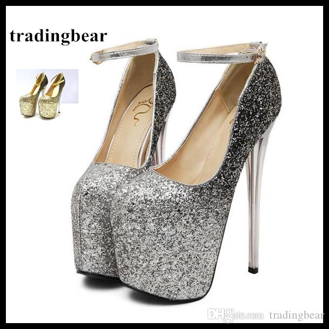 Gradient Sequined Silver Gold Ankle Strap High Heels Pumps 19cm Sexy Lady  Platform Wedding Shoes Plus Size 34 To 40 41 42 43 Mens Sneakers High Heels  From ... c5600af40b87
