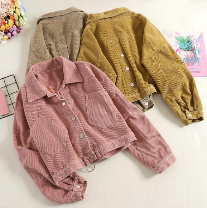 new styles 7f1fc 8eafe Cord Mantel Jacke Frauen Herbst Mädchen Damen Harajuku Stil Taschen Rosa  Cord Shirts Frauen Frühling Herbst Mantel Tops