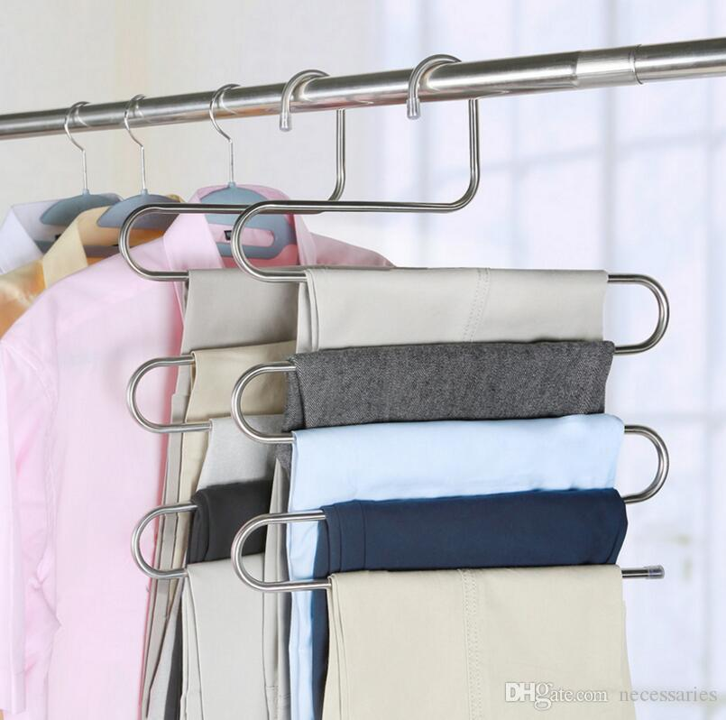 Stainless Steel S Shape Closet Pant Trousers Rack Magic Trousers Hanger  Multi Pant Hanger 5 Layers Saving Space Pant Organizer Storage Pant Hanger  Trousers ...