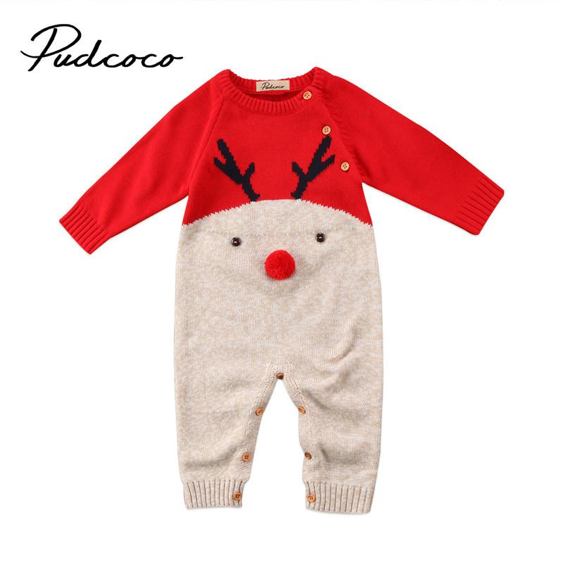 f18b06db3a10 2019 Cute Newborn Baby Boys Girl Christmas Rompers Long Sleeve Deer Romper  Jumpsuit Party Costume Baby Clothes Y18102907 From Gou07