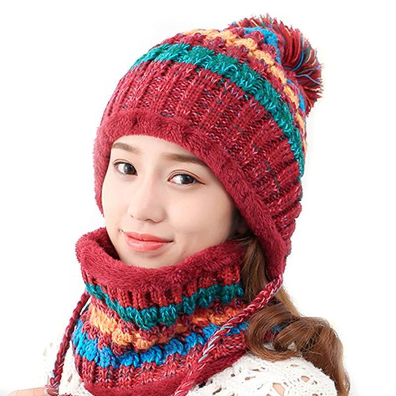 Fashion Cute Winter Hats For Women Knitted Warm Beanies Cap High Quality Big  Pom Poms Ball Knitted Caps Female Ski Hat Scarf Set Hoodies Beanies From ... 4ed737e670e4