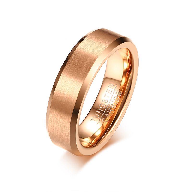 Simple Mens Rings Tungsten Wedding Bands Rose Gold Color Matt