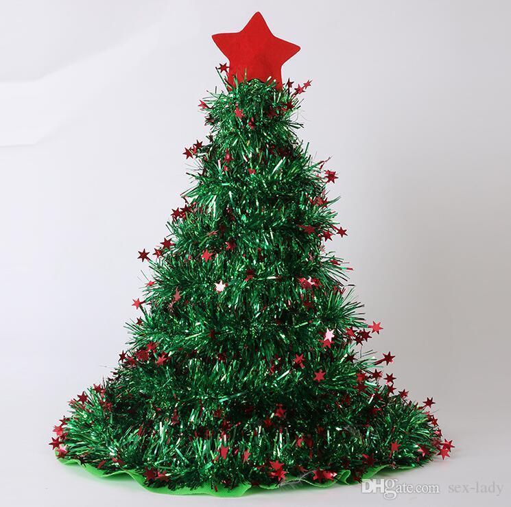 Stern Auf Weihnachtsbaum.Großhandel 3 Farben Weihnachtsbaum Form Hüte Mit Stern Weihnachten
