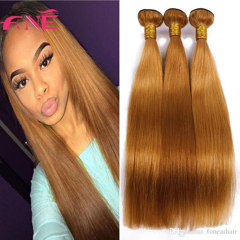 Brazilian Remy Virgin Hair Straight Bundles Light Brown Hair Wefts