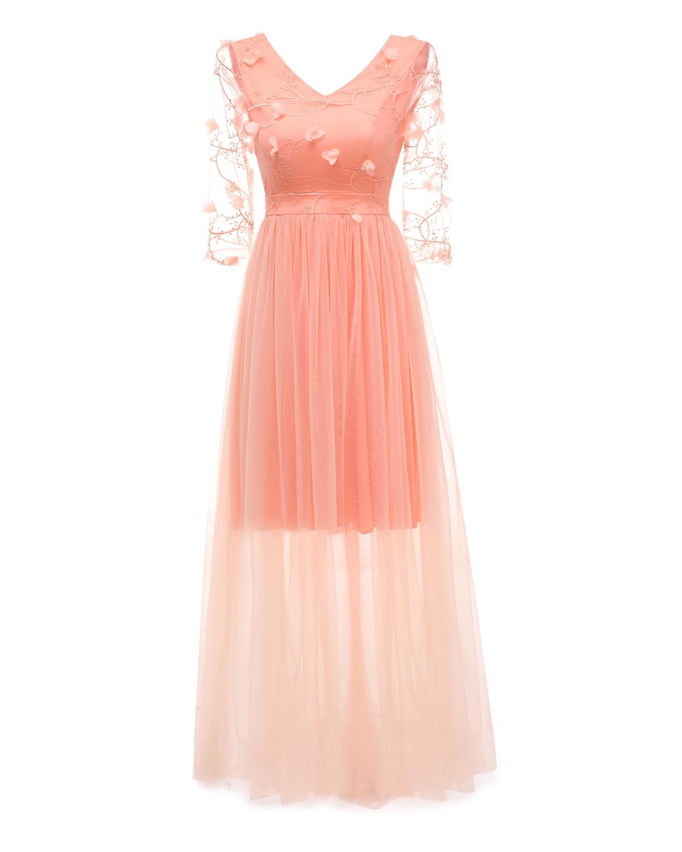 f050e04d642e Mode Lange Mesh Tutu Kleid Ballkleid Frauen Sexy V-ausschnitt Aushöhlen  Blumenstickerei Maxi Abend Party Kleid Voile Robe Soiree