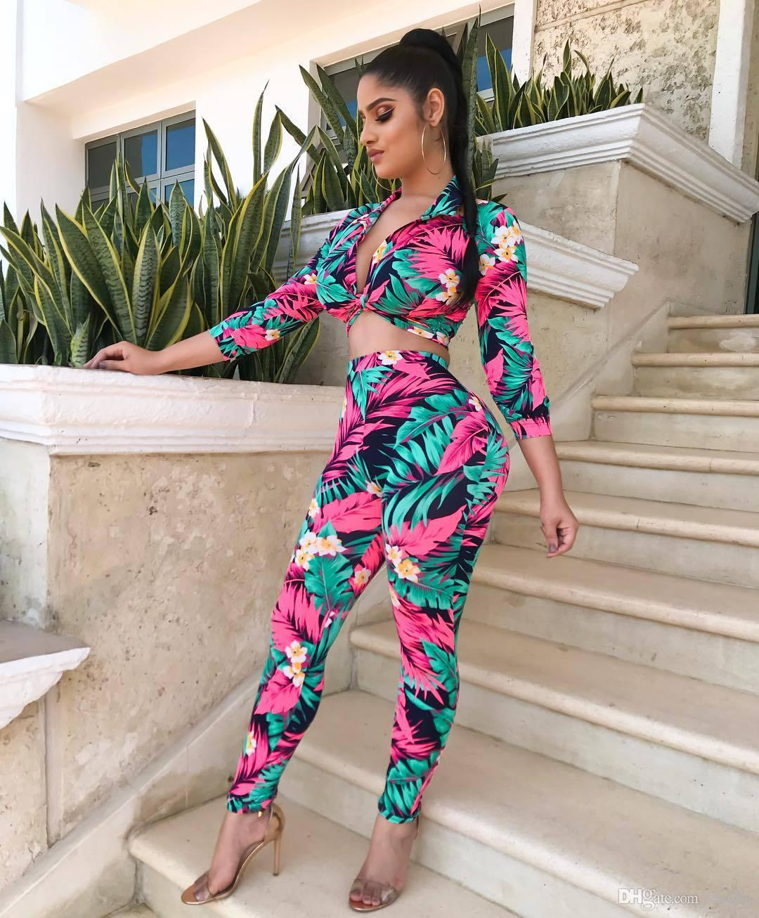 Foral Print Tracksuit Chest Lace-up Fashion Sexy V-Neck Suit 3/4 Sleeve Cardigan Women Sets S-3XL