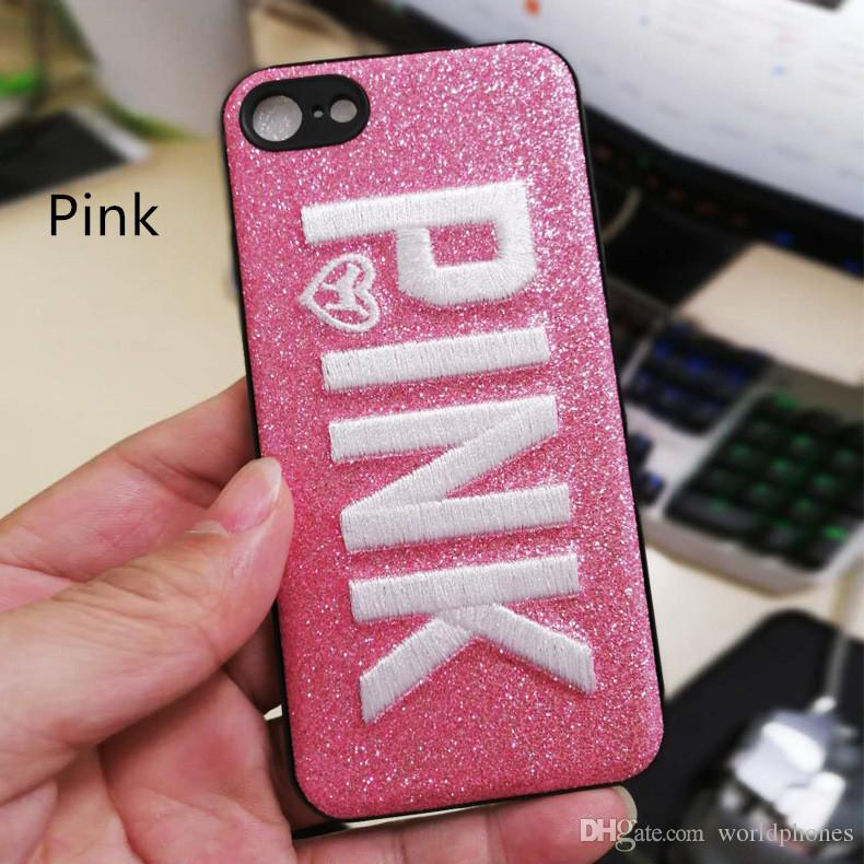 pink cover fashion design glitter 3d embroidery love pink phone case