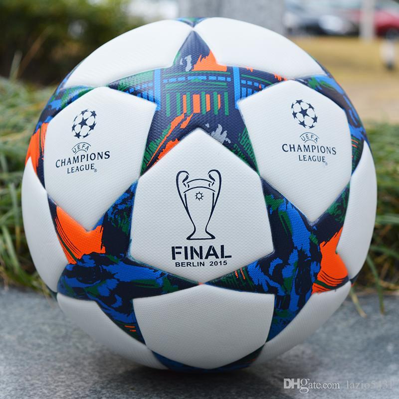 Compre 2015 A Liga Dos Campeões Final Futebol De Berlim Branco   Amarelo  Resistência À Derrapagem Partícula Bola De Futebol Jogo De Bola Tamanho 5  De ... e2319d7c45530