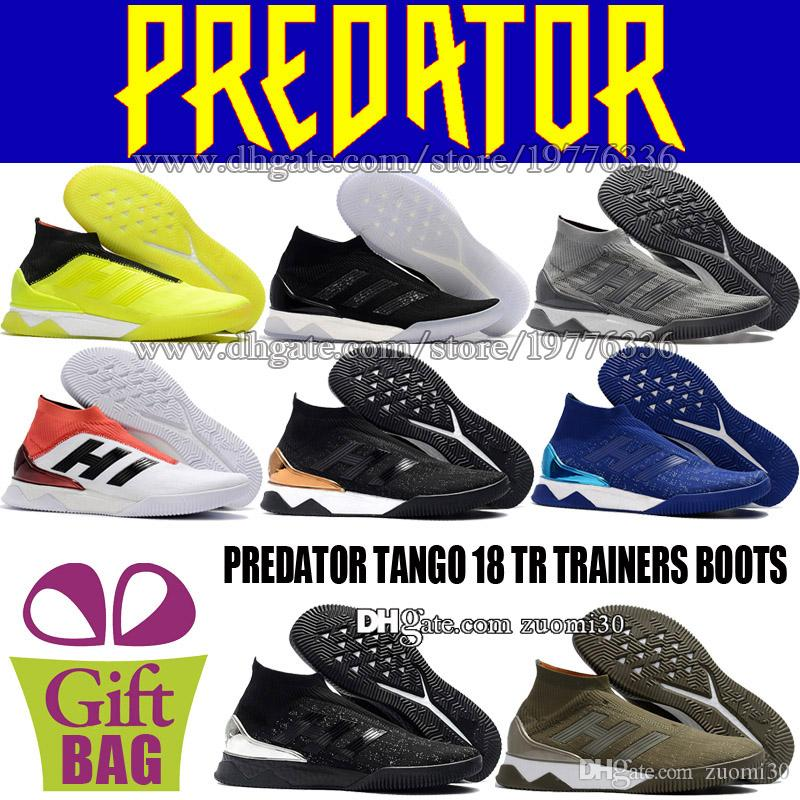 454f8dd1939f 2019 Cheap Indoor Football Shoes Socks Predator Tango 18 TR Mens Soccer  Shoes Futsal High Top Soccer Boots Trainers Football Cleats Size 6.5 11.5  From ...