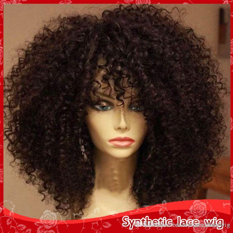 Wholesale Africa American Short Curly Wigs Heat Resistant Glueless  Synthetic Lace Front Wigs 180% Density Full Lace Wigs Vanessa Fifth Avenue  Collection ... f449c8805f52